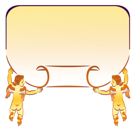 cupido: Golden frame with paper scroll and cupids Stock Photo