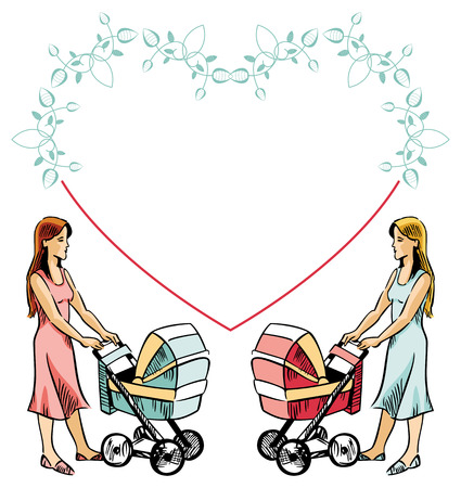Two women with baby carriages and heart shaped frame Illustration