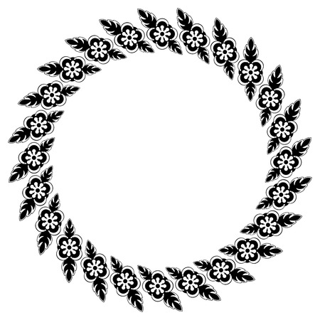 free range: Round black and white frame with floral elements Illustration