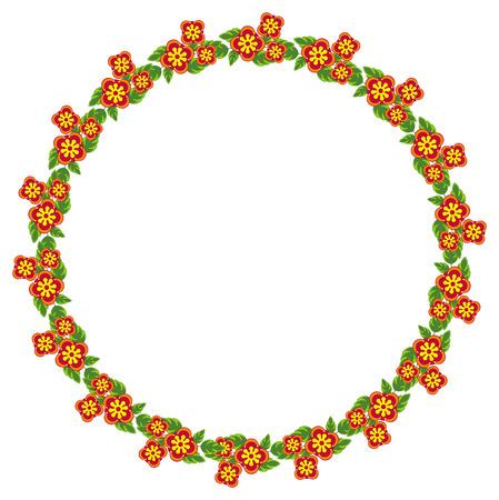 free range: Round frame with decorative flowers