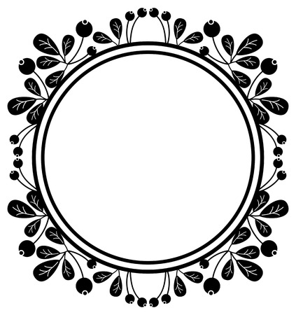 frutos rojos: Round silhouette frame with berries