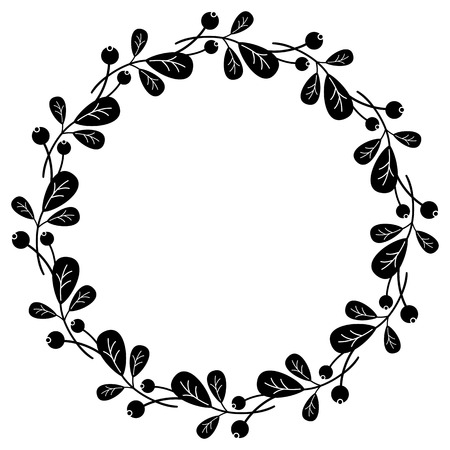 Round silhouette frame with berries