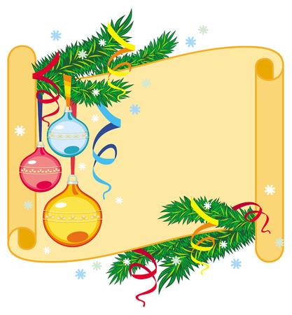 swirl: Paper swirl with Christmas branch
