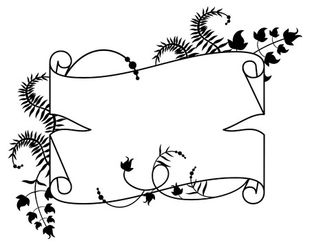 paper scroll: Paper scroll with floral silhouette Illustration
