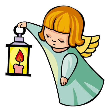 lamplight: image of angel flying with lantern