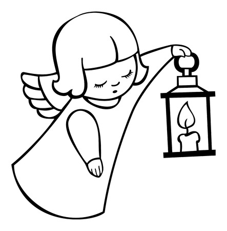 Contour image of angel flying with lantern image of angel flying with lantern