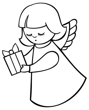 angel flying: Contour image of angel flying with  a gift Illustration