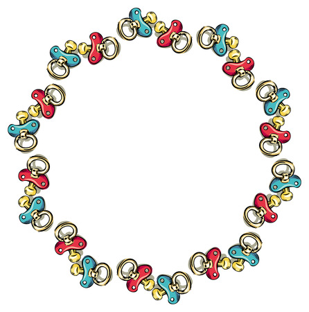 Round frame with soothers Vettoriali