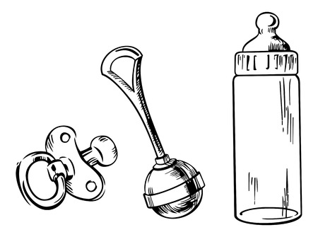 Outline image of baby bottle, soother and rattle isolated on a white background