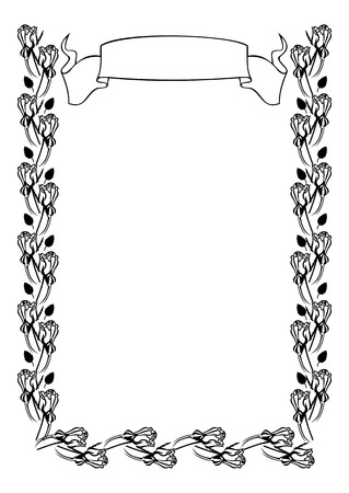 Silhouette frame with roses