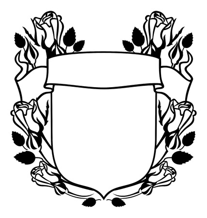 Silhouette shield with roses