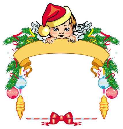 cupido: Holiday frame with little angel and Christmas decorations