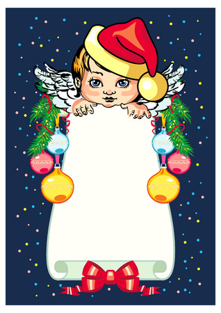 cupido: Holiday background  with little angel and Christmas decorations