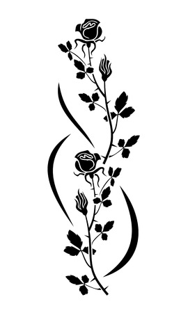 black and white line drawing: Rose silhouette