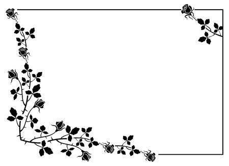 rosas negras: Marco elegante con rosas siluetas