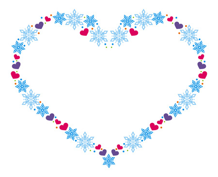 heartshaped: Heart-shaped frame with snowflakes