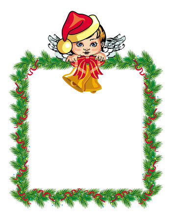 angel: Holiday Christmas frame with angel Illustration