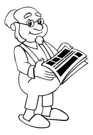 citizen: Senior citizen is reading a newspaper