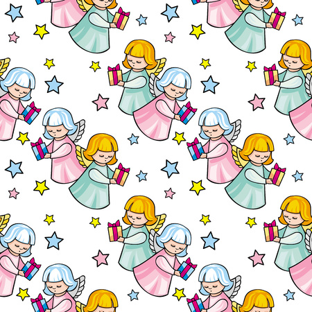 child praying: Seamless pattern with angels Illustration