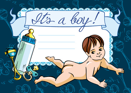 free background: Greeting card with newborn baby Illustration