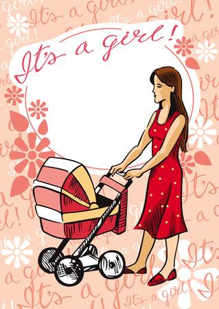 baby girl: Newborn greeting baby girl card