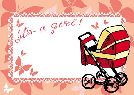 perambulator: Greeting card with a baby perambulator