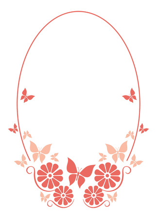 oval frame: Oval frame with  butterflies and flowers