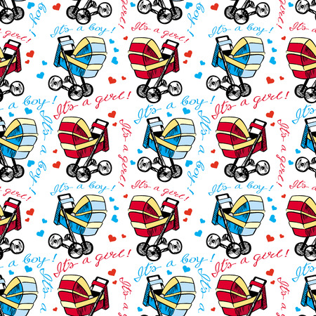 Print design: Seamless pattern with baby stroller