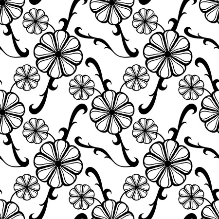 allover: Black and white seamless pattern with fantasy flowers