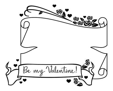 superscription: Valentine frame with original drawing artistic text