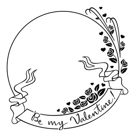 superscription: Round Valentine frame with original drawing artistic text