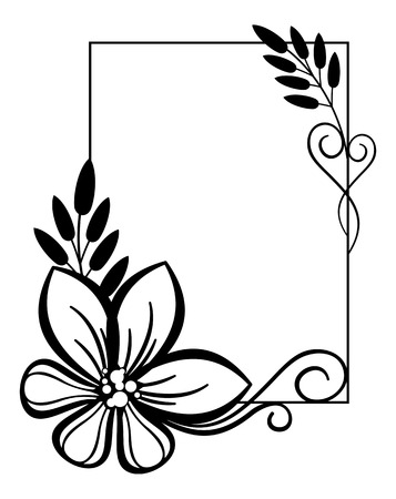 ornaments floral: vertical black and white frame with flowers Illustration