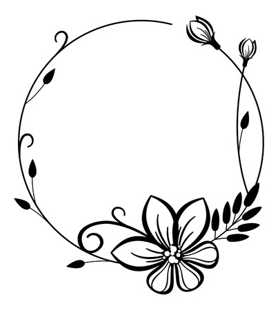 Round black and white frame with flowers