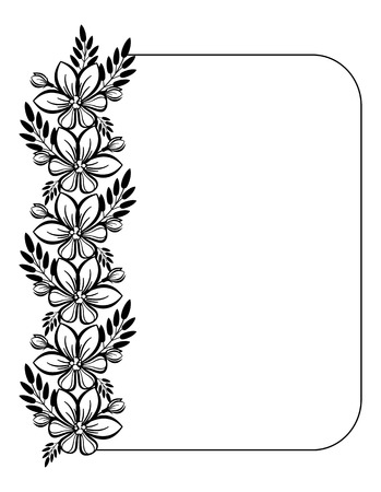 floral ornaments: vertical black and white frame with flowers Illustration