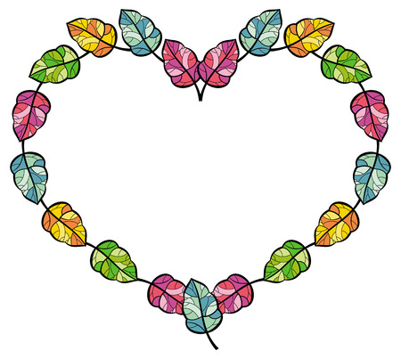 heart shaped leaves: heart shaped frame with colorful leaves