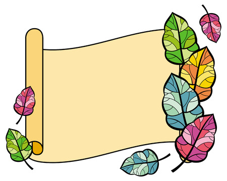 paper scroll: Paper scroll with colorful autumn leaves Illustration