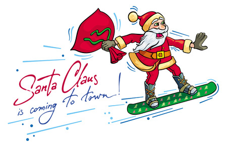 snowboard: Santa riding snowboard