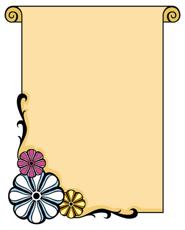 paper scroll: Vertical frame with paper scroll and flowers