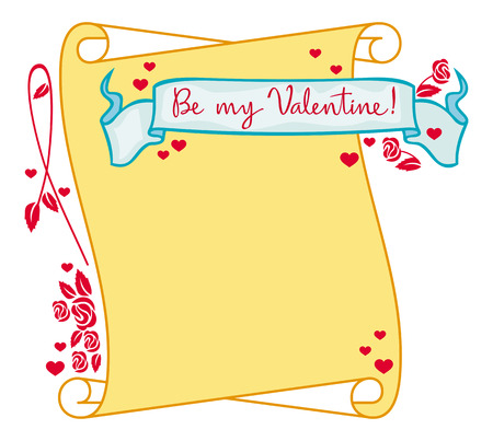 superscription: Colorful Valentine frame with paper scroll and original drawing artistic text