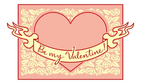 superscription: Valentine greeting card with original drawing artistic text Illustration