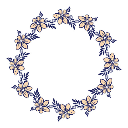 ornaments floral: Round colorful frame with flowers