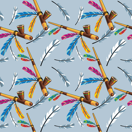 Seamless pattern with native american pipe