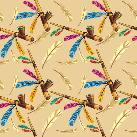 peace pipe: Seamless pattern with native american pipe