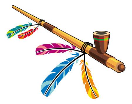Native American Peace Pipe Illustration
