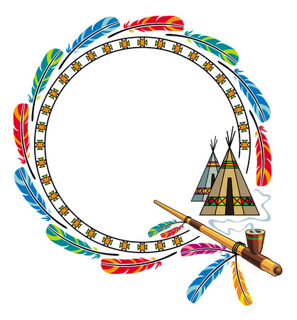peace pipe: Round frame with native american homes and peace pipe