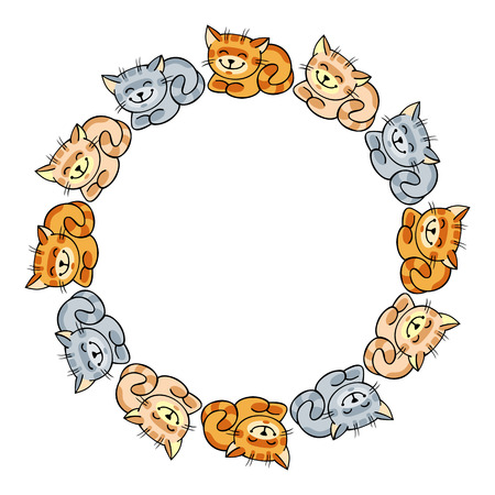 varicolored: Round frame with varicolored cats Illustration