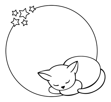 Round outline frame with sleeping cat Vettoriali