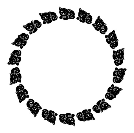 animals frame: Round outline frame with black cats silhouettes