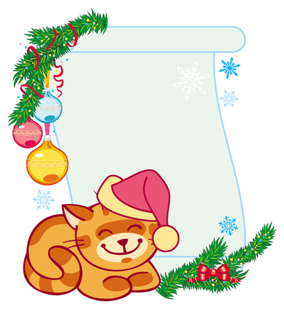 fir branch: Christmas frame and smiling red cat sitting under the fir branch. Illustration