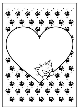 persona feliz: fondo blanco y negro con los pasos, el corazón y el gato Vectores